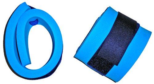 Braccioli altamente galleggianti per braccia e gambe, delle dimensioni di 300 x 80 x 38 mm, di colore blu, con chiusura a strappo