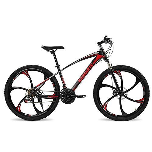 COSCANA Bicicleta De Montaña De 21-27 Velocidades con Marco De Acero De Alto Carbono, 26 Pulgadas, Ruedas De 6 Radios, Freno De Disco Doble, Bicicletas De Suspensión DelanteraRed-24 Speed