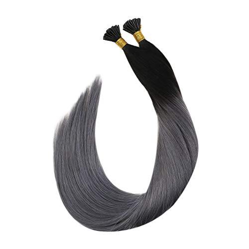 [Rabatte Begrenzen] Ugeat Keratin Fusion Glue Sticks Echthaar 0.8G 50S Pre Bonded I Tip Hair Extensions Human Hair Schwarz Ombre Silber Bonding in Extensions mit Haare 45 cm
