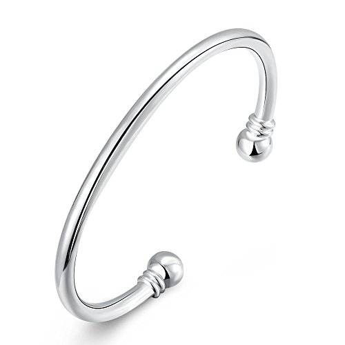 SOMUNS 925 Sterling Silver Plated Bangle Bracelet, Fashion Simple Open Bangles Two Bead Cuff Jewelry for Women (Simple)