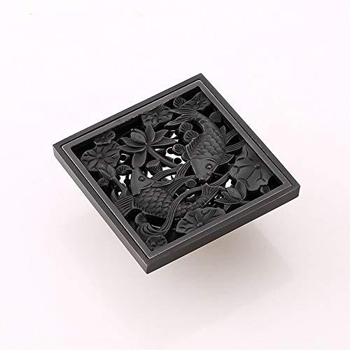 DYecHenG Bodenablauf Modische Personality Carp Verdickte Copper Bodenablauf T-Typ Anti-Geruch für Badezimmer Toilette Küche (Color : Black, Size : ONE Size)