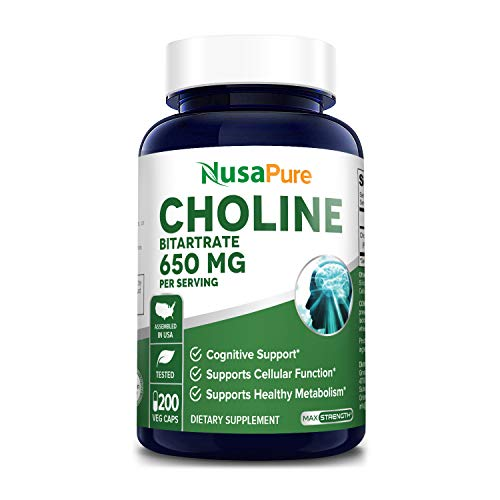 Choline Bitartrate 650 mg 200 Veggie Capsules ( Vegan, Non-GMO & Gluten-Free) Supports Healthy Cognitive Functions & Mental Focus*