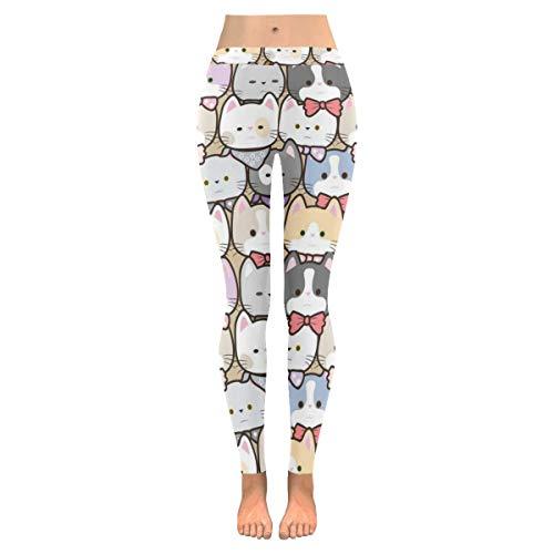InterestPrint Cartoon Cat Custom Stretchy Capri Leggings Skinny Pants for Yoga Running Pilates Gym M