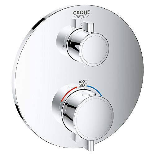 GROHE 24133000 Grohtherm Dual Function 2-Handle Thermostatic Trim, Starlight Chrome
