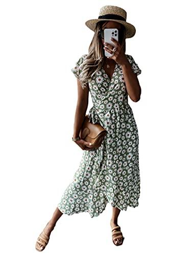 Vestido de verano para mujer de manga corta con cuello en V bodycon floral casual básico ajustable cinturón Boho Bohemia vestidos