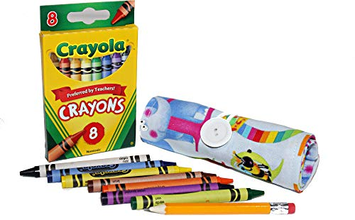 On The Go Crayons Caddy Holder roll up case, Holds 9 or 18 Favorite Color Crayon, Perfect to Keep Your Kids Organized, Inspired, and Entertained -8 Crayons Included! (Alphabets Print, Small)