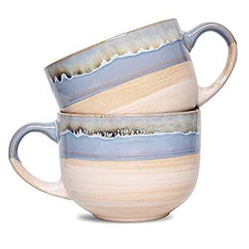 Bosmarlin Large Stoneware Coffee Mug Set of 2 Jumbo Latte Mugs for Office and Home 16 Oz Dishwasher and Microwave Safe Blue 2