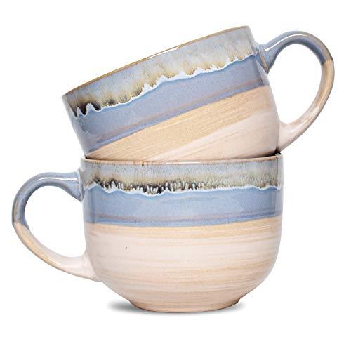 Bosmarlin Large Stoneware Coffee Mug Set of 2, Jumbo Latte Mugs for Office and Home, 16 Oz, Dishwasher and Microwave Safe(Blue, 2)