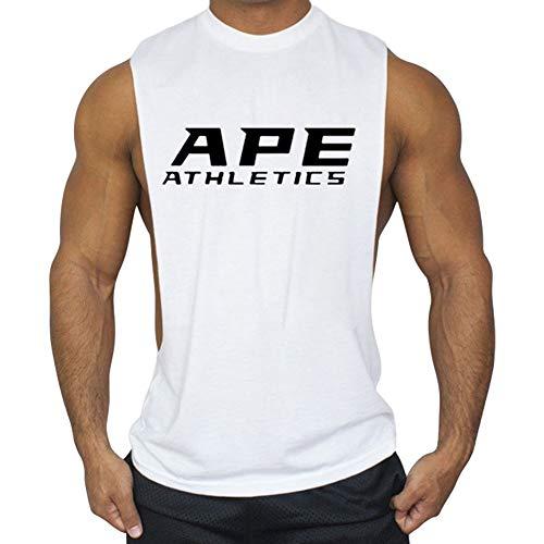 Anmurタンクトップ メンズ トレーニング ノースリーブ 綿 筋トレ マッスルフィット スポーツインナー ボディビル ホワイトM