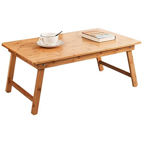 HCYTPL Inklapbare bijzettafelbamboe en houten klaptafel in huis beweegbaar bedbureau computervak Stable Hout kleur, 3 maten