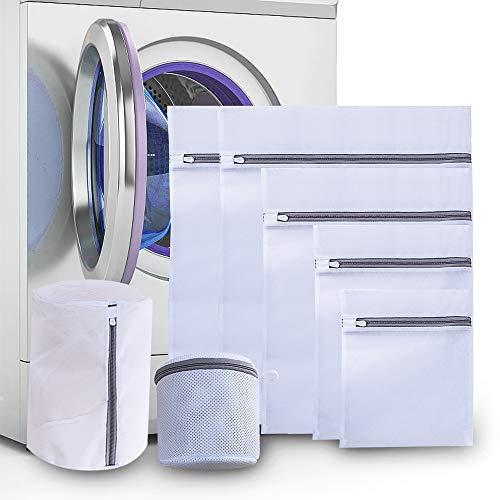 munloo 7 Stück Wäschenetz, Mesh Wäschesäcke für Waschmaschine Wäschebeutel für Empfindliches, Bluse, Unterwäsche, Babykleidung (Weiß)