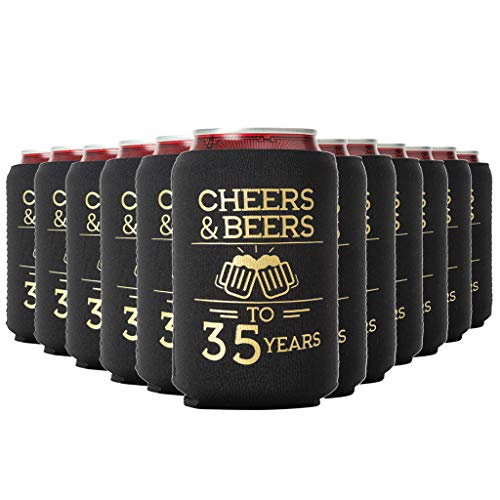 Cheers & Beers to 35 Years Can Coolers 35th Birthday Party Coolies, Set of 12, Black and Gold Can Coolers, Perfect for Birthday Parties, Birthday Decorations…