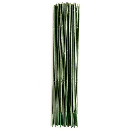 MOIAK 100pcs Plastic Floral Stem, Artificial Flower Rod, Plant Stub Wire Green Florist Wires, Ideal for The Crafts Person, 17CM and 25CM(25CM)