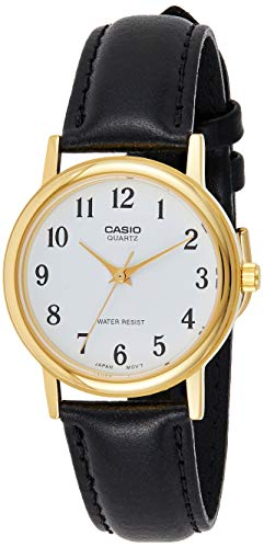 CASIO 19367 MTP-1095Q-7B - Reloj Caballero Cuarzo Correa de Piel Negra dial Blanco