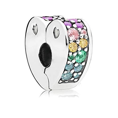 BAKCCI - Gioiello in argento 925 a clip, multicolore, in stile primavera, perlina arco d'amore, per fai da te, adatto a braccialetti Pandora originali, ciondolo alla moda