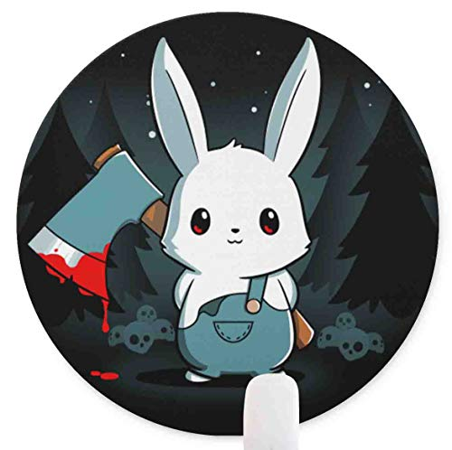 Bad Axe Bunny Round Mouse Pad,Anti Slip Rubber Round Mousepads Desktops Gaming Mouse Mat Customized Designed for Home and Office,7.9 x 7.9inches