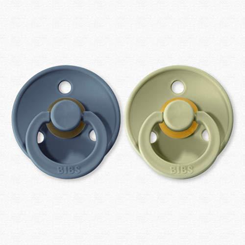 BIBS Colour Schnuller // 2er Pack // 100% BPA FREI // Dänisches Original mit Kirschform, geprüft nach EN1400 // Größe 1&2 // exklusive Farbvariationen (Größe 1 (0-6 Monate), Petrol & Sage)