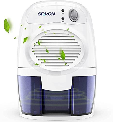 SEAVON New Electric 2020 Mini Dehumidifier, 1500 Cubic Feet (170 sq ft) Portable and Compact 500ml (16 oz) Capacity Quiet Mini Dehumidifiers for Basement, Bedroom, Bathroom, RV, Closet, Auto Shut Off