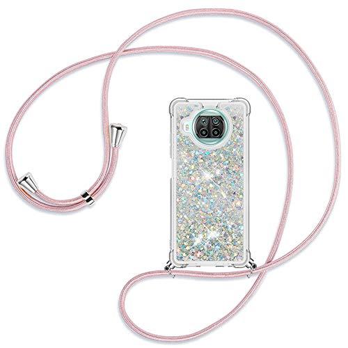 Ptny Hülle Glitzer Handykette kompatibel mit Xiaomi Mi 10T lite 5G - Smartphone Necklace Treibsand Flüssig-Glitzer Hülle mit Band - Schnur zum umhängen Back Cover mit Glitter Flüssigkeit, Roségold