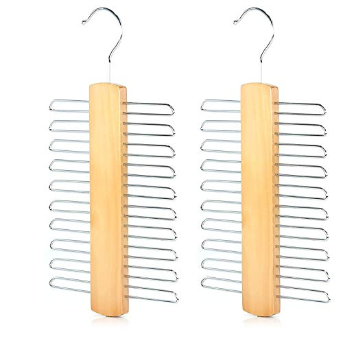 2 Pz Madera con Ganchos de Metal, Percha para 20 Corbatas Percha de Corbata de Madera con Ganchos de Metal para Corbatas Bufandas Cinturones Organizador de Almacenamiento