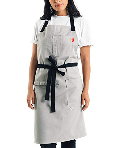 Caldo Cotton Kitchen Apron  Mens and Womens Professional Chef Bib Apron  Adjustable Straps with Pockets and Towel Loop Grey