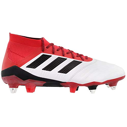 adidas Predator 18.1 Soft Ground Leather Soccer Casual Cleats (Men's), White, 10