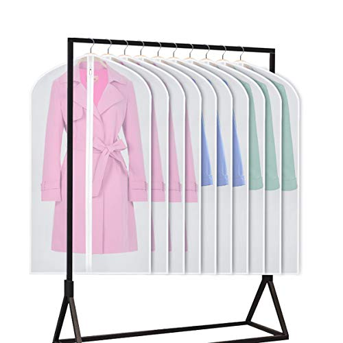 Univivi Hanging Garment Bag 43 inch Suit Bag for StorageSet of 10 Anti-Moth Protector Washable Translucent Lightweight Garment Bags for Dress Suits Jackets T-Shirt Sports Coats etc