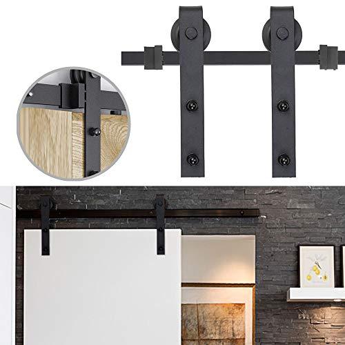 NAIZY Schiebetürsystem Set, Schiebetürbeschlag, inklusive Laufschiene, Schiebetür Zubehörteil für Küchentür, Scheunentür Studientür - 6ft (183cm)