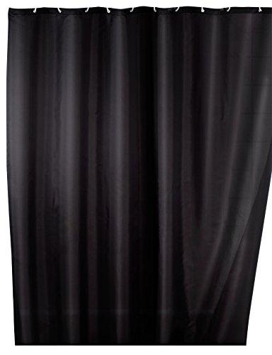 WENKO Anti-Schimmel Duschvorhang Uni Black - Anti-Bakteriell, Textil, waschbar, wasserabweisend, schimmelresistent, mit 12 Duschvorhangringen, Polyester, 180 x 200 cm, Schwarz
