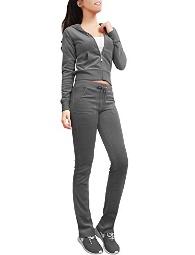 NE PEOPLE Womens Casual Basic Velour Zip Up Hoodie Sweatsuit Tracksuit Set S-3XL Darkgray