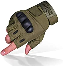 TitanOPS Fingerless Hard Knuckle Motorcycle Military Tactical Combat Training Army Shooting Outdoor Gloves (Green, M)