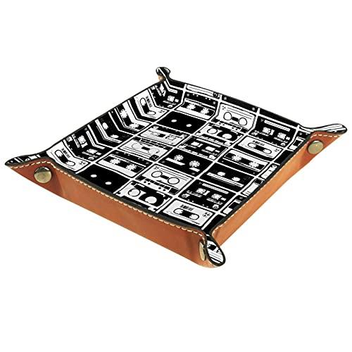 AITAI Bandeja de valet de cuero vegano, organizador de mesita de noche, placa de almacenamiento de escritorio, cinta retro
