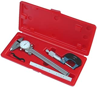 Anytime Tools Dial Caliper/Micrometer/Stainless Steel Ruler Professional Machinist Inspection Tool Set