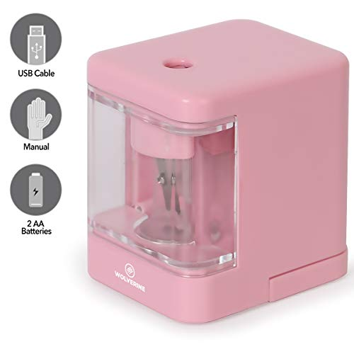 WOLVERINE Battery Operate Compact Electric Pencil Sharpener 6-8mm No.2/Colored Pencils Powered by Battery/USB with Replaceable Steel Blade Cutter for School Classroom Office Home Travelers SP5940 Pink