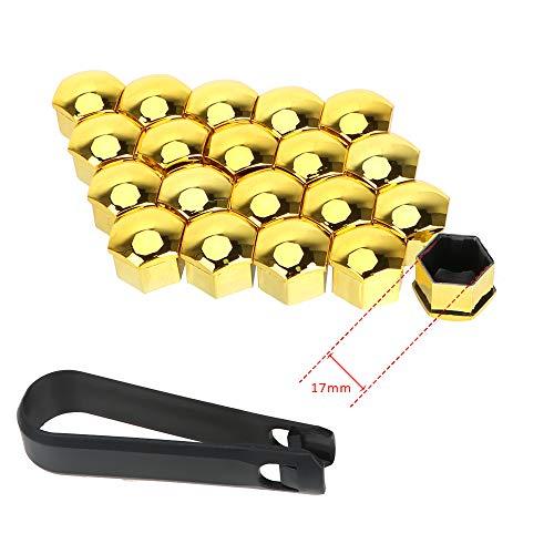 Auto Hub Screw Cover 20 Stück 17mm / 19mm Schutzabdeckungen Kappen Außendekoration Auto Radmutter Kappen Auto Trim Reifenmutter Bolzen (Gold 17mm)