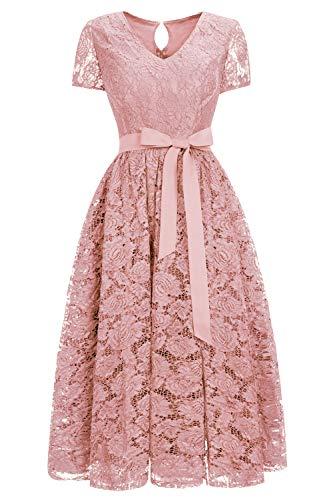 MisShow Damen Abiballkleid Abschlussballkleid V-Ausschnitt Abendkleid mit Schleife aus Spitzen 42