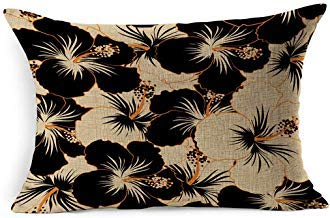 DarrenOw02 Beige Palm Aloha Summer California Hawaiian Pattern Tropical Flower Nature Beach Hawaii Black Blossom Botanical Rectangle Cushion Covers 16x24 for Living Room Sofa Decor Outdoor