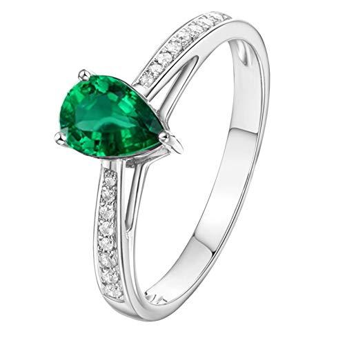 Ubestlove Women Ring Emerald Gemstone Ring Kit Teardrop Real Gold Ring Womens 0.75Ct J 1/2