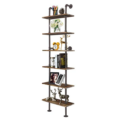 Giantex 6 Tier Industrial Pipe Shelves with Wood Rustic Wall Shelves Vintage Pipe Wall Shelf for Bedrooms Kitchens Coffee Shops or Bar Storage Pickles Wood Grain
