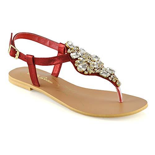ESSEX GLAM Sandalo Donna Vacanze Infradito T-Bar Finto Diamante (EU 38, Rosso)