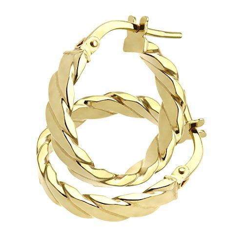Citerna Damen-Ohrringe Flach Streifen Hoop Creole 9 K 375 Gelbgold