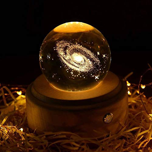 BESPORTBLE 70Mm Galaxie Lampe Spieluhr 3D-Raum Galaxie Kristallkugel mit LED-Lampensockel Und Drehbaren Spieluhren - Geschenk für Astronomie-Enthusiasten Jubiläum Geburtstag