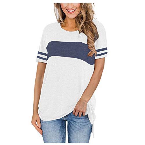 Landove Pullover Manga Corta Mujer Casual Camiseta con Abertura Lateral Asimetrica Jersey Bicolor Basica T Shirt Vintage Camisa Cuello Redondo Blusa Verano Tunica Elegante Sweatshirt Simples Top Raya