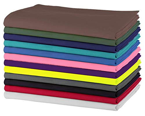SweetNeedle - Paquete de 12 - Servilletas grandes de algodón 100% algodón 50 CM x 50 CM (20 IN x 20 IN), Multicolores - Tejido pesado para uso diario con acabado de esquinas acanaladas