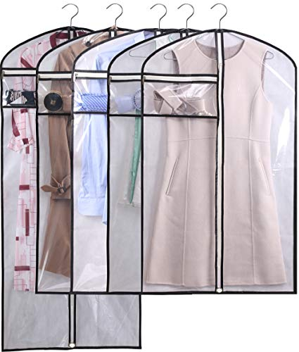 KIMBORA Hanging Garment Bags Dance Costume Bags for Closet Competitions Clothes Storage Clear Dust Covers Breathable Light weight Suit Bags with Accessories Zipper Pocket (White, 5)