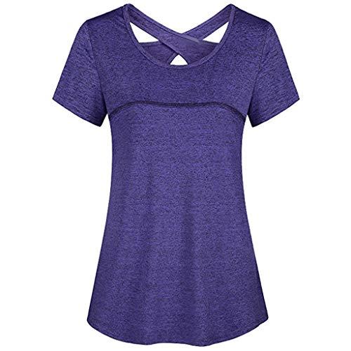 Preisvergleich Produktbild HWTOP Tshirt Damen Sweatshirt Frau Kurzarm T-Shirt Rundhals Criss Cross Tops Rückenfrei Sport Fitness Athletic Yoga Shirt