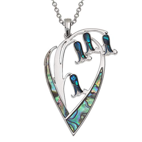Kiara Jewellery Collar con colgante de flor Bluebell con incrustaciones de concha de abulón azul verdoso natural y madre de perla en cadena de 45,72 cm, color plata no se deslustra, chapado en rodio.