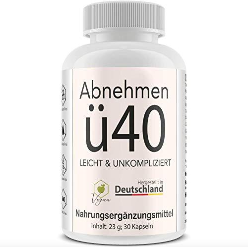 Abnehmen Ü40 - 30 Kapseln zum Abnehmen ab 40 I Nahrungsergänzungsmittel mit HCA - Ingwer - Guarana - Cayennepfeffer I Sättigungskapseln I Appetitzügler Fatburner vegan - Made in Germany