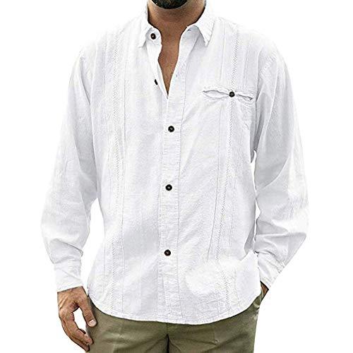 Camisa De Algodón Y Lino De Manga Larga De Color Sólido Botón Ropa Blusas Suelta Camisas De Trabajo Suave Cómodo Transpirable Camisa Casual para Hombre