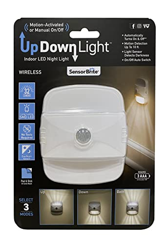 Sensor Brite UpDown Wireless Motion-Sensing LED Light, Automatic Accent LED Light, Battery-Operated Night LED Light (Updown Light)